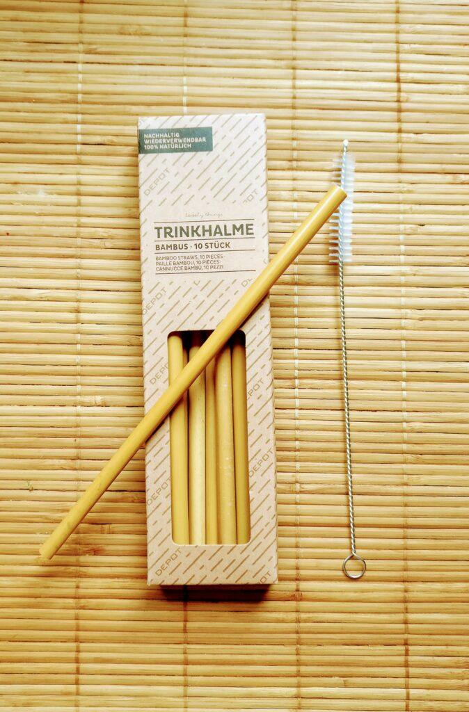 Pajitas de bambú reciclables